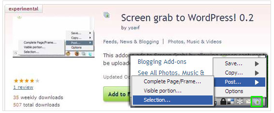 Post screenshots to WordPress blogs with a Firefox add-on - Download Squad
